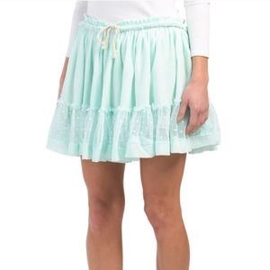Last chance! Layered Crochet sheer Lace mini skirt